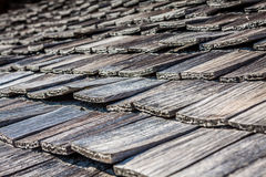 Old wooden roof tiles from Switzerland Royalty Free Stock Photography