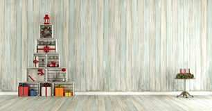 Old wooden room with christmas decorations Royalty Free Stock Photos
