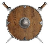 Old wooden round shield and two crossed swords Stock Photography