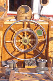 Old wooden rudder. In a sailboat details Royalty Free Stock Photography
