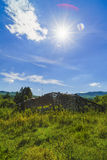 Old wooden ruin house in the mountains of Fagaras Mountains in R. Omania Royalty Free Stock Photos