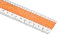 Old wooden ruler close up Royalty Free Stock Images