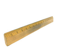 Old Wooden Ruler isolated on white Stock Images