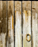 Old wooden rural house wall made of plank backdrop Stock Photo