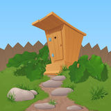Old wooden rural toilet from boards with the closed door, a canopy and steps, stands near a fence. Burdocks and a grass grow at a row. To a toilet the twisting stock illustration