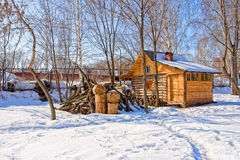 Old wooden russian bath in village Stock Photos