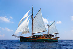 Old wooden sailboat. Maldives, Asia Stock Photos