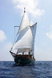 Old wooden sailboat. Maldives, Asia stock photo