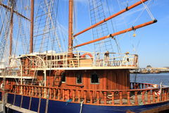 Old wooden sailboat royalty free stock image