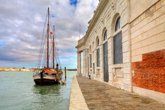 Wooden sailboat in Venice, Italy. Stock Photo