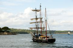 Old Wooden Sailboat. In Sydney Harbor royalty free stock photography