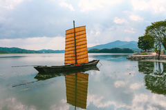 Old wooden sailing ship, sailboat with river Stock Images