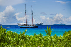 Old wooden sailing ship in tropical harbour, blue water Royalty Free Stock Photography