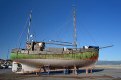 Old wooden sailing vessel. Image of old wooden sailing vessel on supports Stock Photography