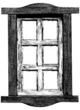 Old wooden saloon window. Stock Photo