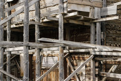 Old wooden scaffolding Royalty Free Stock Photos