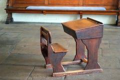 Old wooden school desk. Stock Photos