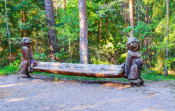 Old wooden sculptures in the forest. Witch Hill park, Lithuania. JUODKRANTE, LITHUANIA - 18 SEPTEMBER 2016: Old wooden sculptures in the forest. Witch Hill park Stock Photography