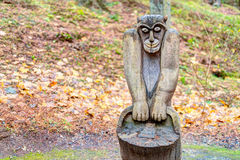 Old wooden sculptures in the forest. Witch Hill park lithuanian: Raganu kalnas. Juodkrante, Lithuania. JUODKRANTE, LITHUANIA - 13 NOVEMBER 2016: Old wooden Stock Photography