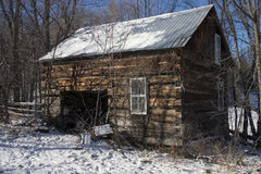 Old wooden shack. In winter Royalty Free Stock Photography
