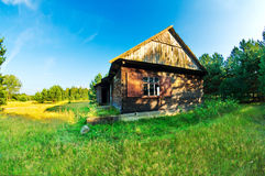 Old wooden shed. In the field in summer royalty free stock photos