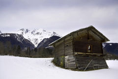 Old wooden shed in the Austrian Alps. An old wooden shed with a cute owl figure, in the Austrian Alps Royalty Free Stock Image