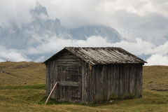 Old wooden shed in Dolomites Stock Image