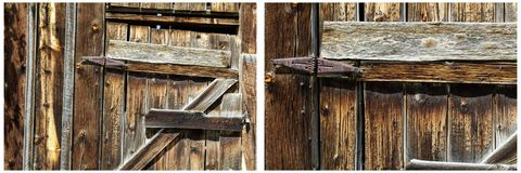 Old wooden shed door rusted hinges collage. Ranch farm western shed barn old weathered wood rusty metal hinge collection group Royalty Free Stock Photo