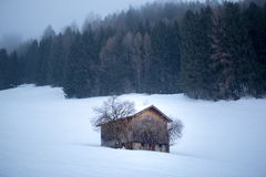 Wooden shed in a forest on a field in winter. Old wooden shed in winter forest with a lot of snow in the fog at day Royalty Free Stock Photo