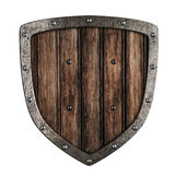 Old wooden shield isolated Royalty Free Stock Photography