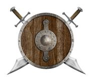Old wooden shield and two crossed sabers isolated Royalty Free Stock Photo