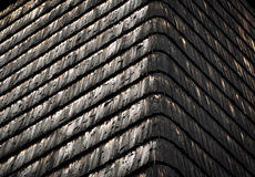 Old wooden shingle roof. Background or texture old wooden shingle roof Stock Photo