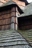 Old wooden shingle roof Stock Photo