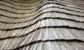 Old wooden shingle roof Stock Photos