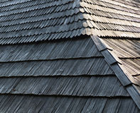 Old wooden shingle roof Royalty Free Stock Image