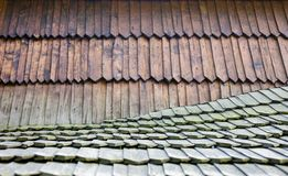 Old wooden shingle roof. Wooden surface texture Royalty Free Stock Photos