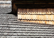 Old wooden shingle roof Stock Image