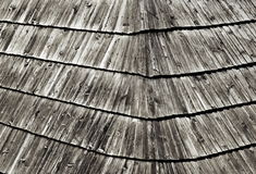 Old wooden shingle roofing Stock Image