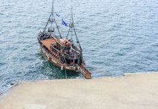 Old wooden ship, aerial view, Thessaloniki, Greece. Old wooden ship used as mobile bar, aerial view, Thessaloniki, Greece stock image