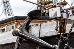 Old wooden ship & anchor Royalty Free Stock Photography