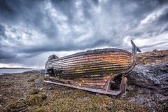 Old wooden ship on beach Stock Images