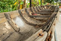 The old wooden ship damaged. royalty free stock image