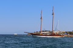 Old wooden ship at the mediterranean sea Royalty Free Stock Images