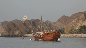 Old wooden ship in Muscat, Oman. Old wooden ship in Muscat, Kingdom of Oman, Middle East stock video