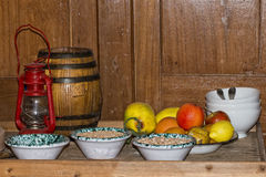 Old wooden ship pantry royalty free stock images