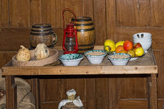 Old wooden ship pantry stock image