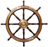 Old wooden ship's steering wheel Stock Photos
