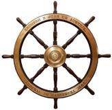 Old wooden ship's steering wheel Stock Photos