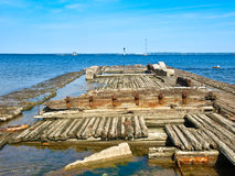 Old wooden ship sunk. Tallinn Royalty Free Stock Image
