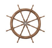 Old wooden ships wheel isolated. royalty free stock photography